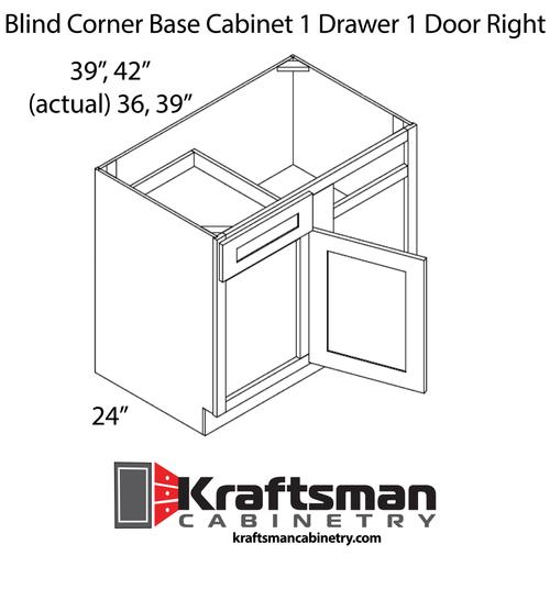 Blind Corner Base Cabinet 1 Drawer 1 Door Right Java Shaker Kraftsman Cabinetry