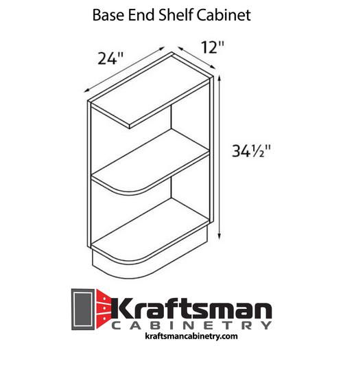Base End Shelf Cabinet Java Shaker Kraftsman Cabinetry