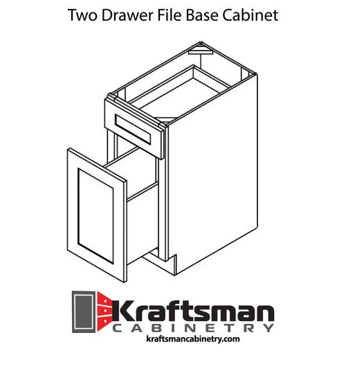Two Drawer File Base Cabinet Java Shaker Kraftsman Cabinetry