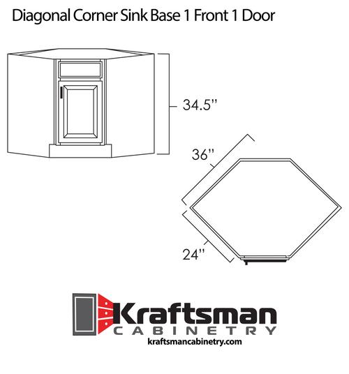 Diagonal Corner Sink Base 1 Front 1 Door Java Shaker Kraftsman Cabinetry