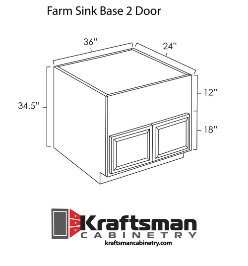 Farm Sink Base 2 Door Java Shaker Kraftsman Cabinetry