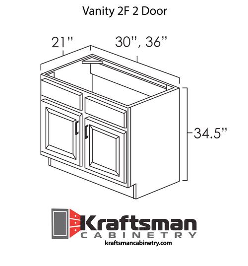 Vanity 2F 2 Door Java Shaker Kraftsman Cabinetry