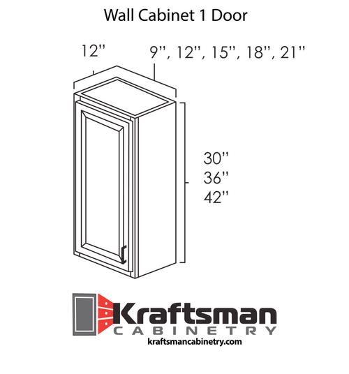 Wall Cabinet 1 Door Java Shaker Kraftsman Cabinetry