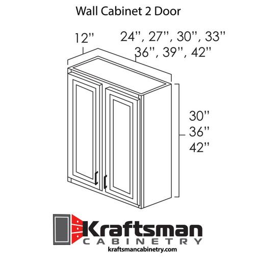 Wall Cabinet 2 Door Java Shaker Kraftsman Cabinetry
