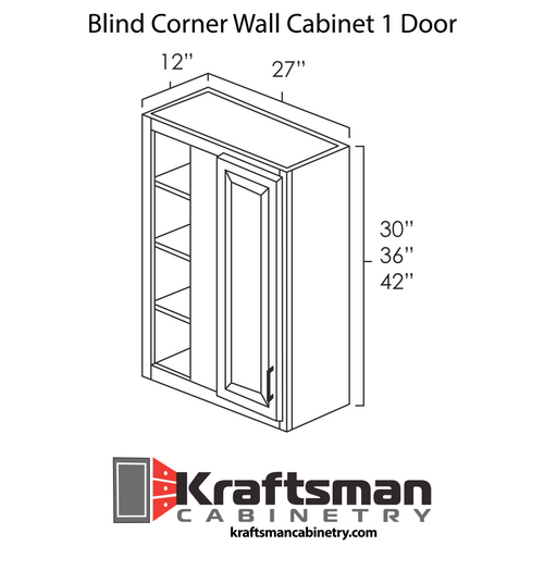 Blind Corner Wall Cabinet 1 Door Java Shaker Kraftsman Cabinetry