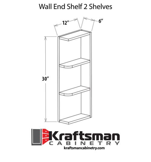 Wall End Shelf 2 Shelves Java Shaker Kraftsman Cabinetry