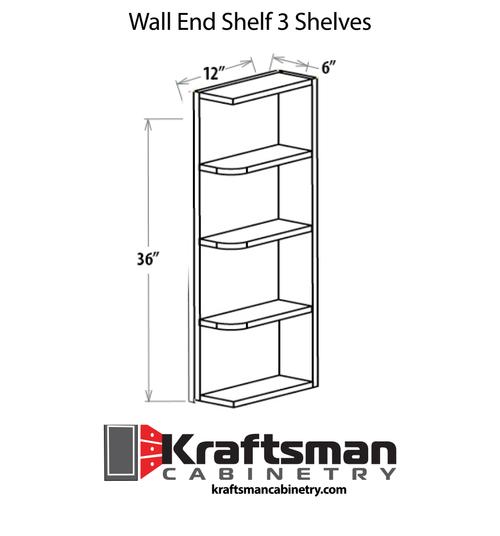 Wall End Shelf 3 Shelves Java Shaker Kraftsman Cabinetry