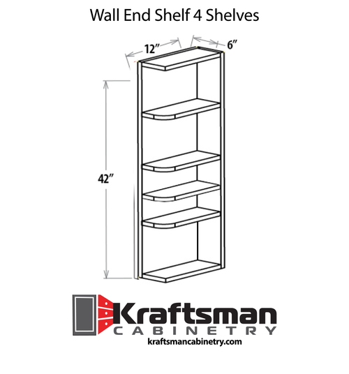 Wall End Shelf 4 Shelves Java Shaker Kraftsman Cabinetry