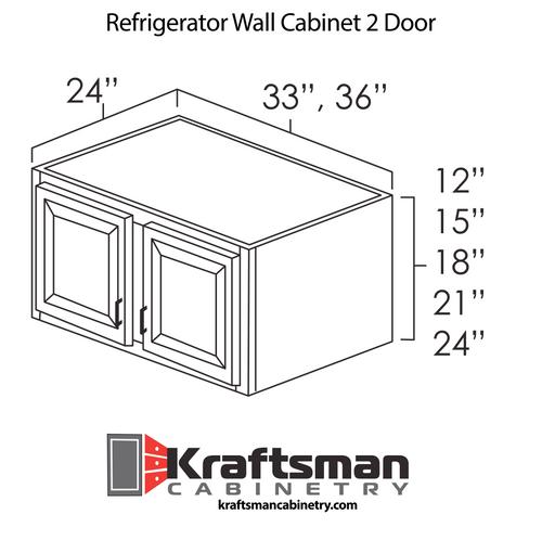 Refrigerator Wall Cabinet 2 Door Java Shaker Kraftsman Cabinetry