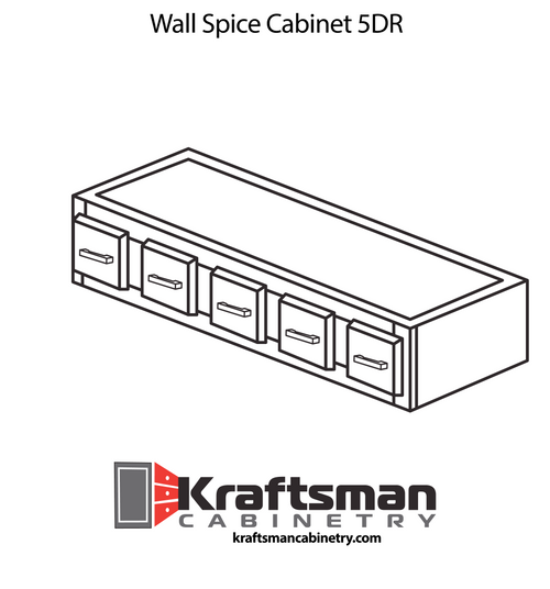 Wall Spice Cabinet 5 Drawer Java Shaker Kraftsman Cabinetry