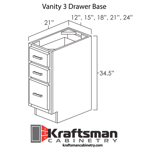 Vanity 3 Drawer Base Winchester Grey Kraftsman Cabinetry