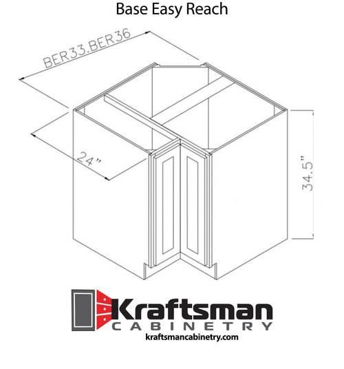 Base Easy Reach Summit White Shaker Kraftsman Cabinetry