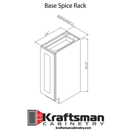 Base Spice Rack Summit White Shaker Kraftsman Cabinetry
