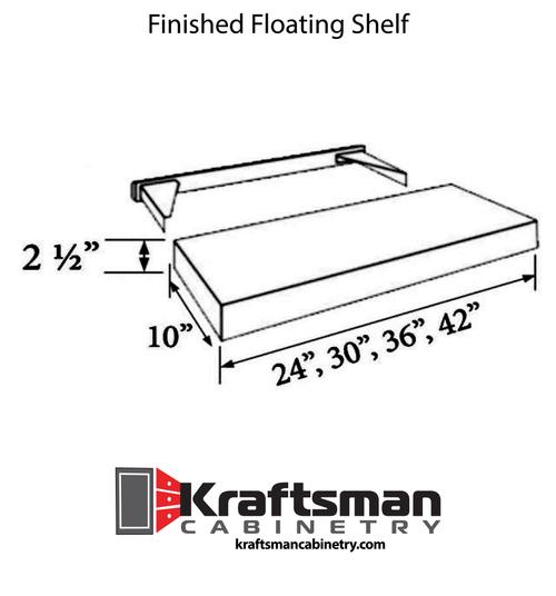 Finished Floating Shelf Summit White Shaker Kraftsman Cabinetry