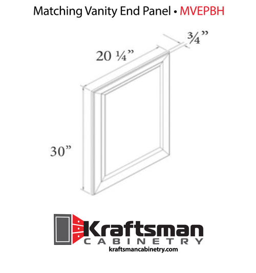 Matching Vanity End Panel Summit White Shaker  Kraftsman Cabinetry