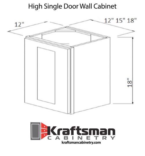 18 Inch High Single Door Wall Cabinet Summit White Shaker Kraftsman Cabinetry