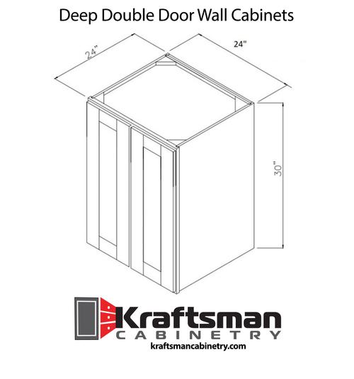 24 Inch Deep Double Door Wall Cabinets Summit Platinum Shaker Kraftsman Cabinetry