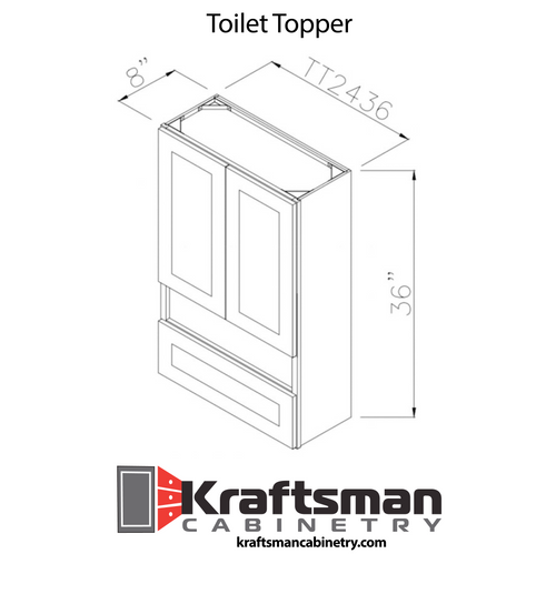 Toilet Topper Winchester Grey Kraftsman Cabinetry