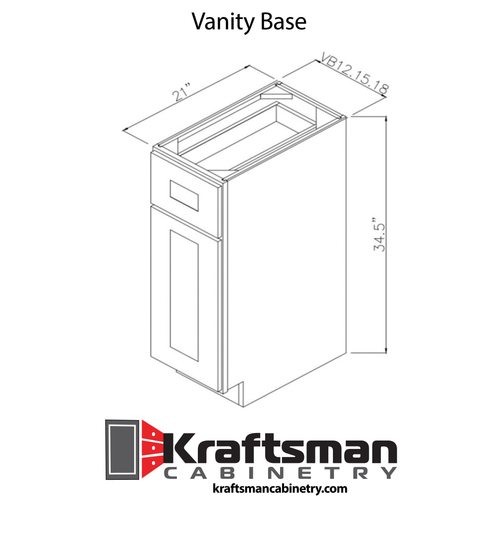 Vanity Base Winchester Grey Kraftsman Cabinetry