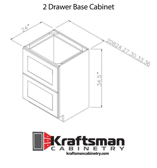 2 Drawer Base Cabinet Hickory Shaker Kraftsman Cabinetry