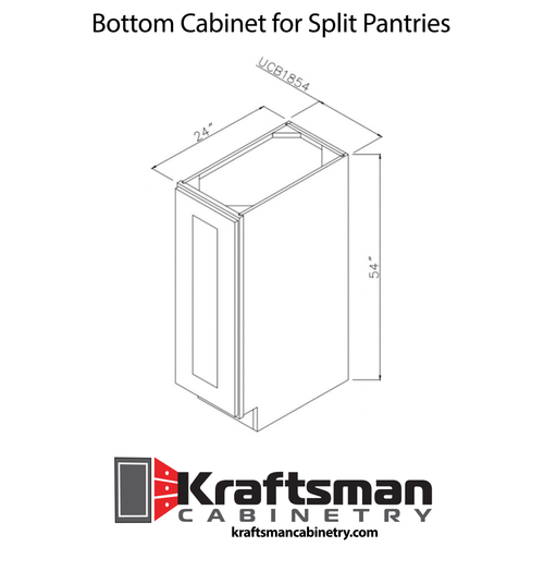 54 Inch Bottom Cabinet for Split Pantries Hickory Shaker Kraftsman Cabinetry