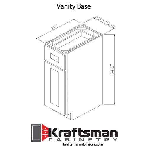 Vanity Base Hickory Shaker Kraftsman Cabinetry