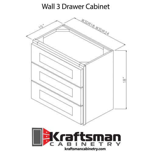 Wall 3 Drawer Cabinet Hickory Shaker Kraftsman Cabinetry
