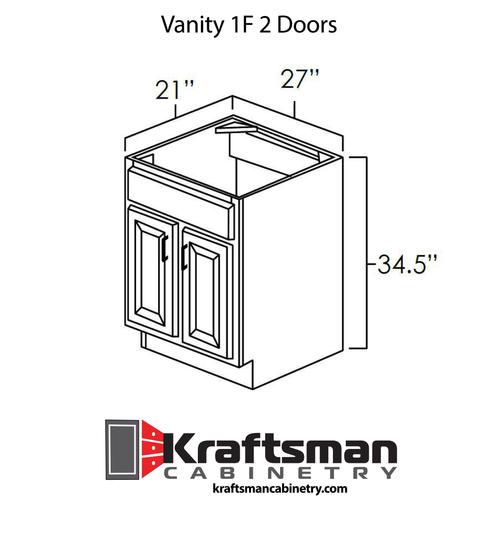 Vanity 1F 2 Doors Summit White Shaker Kraftsman Cabinetry