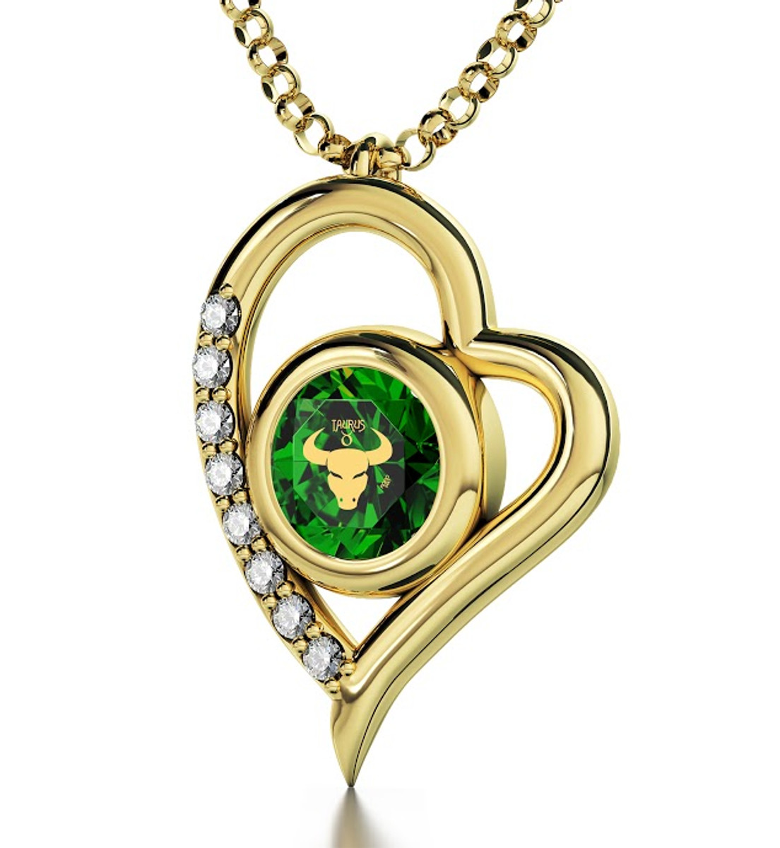 Green Inspirational Jewelry Gold Heart Taurus Necklace