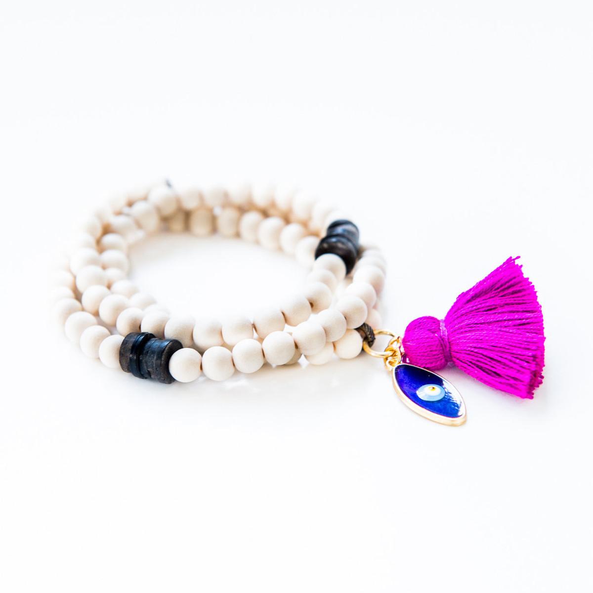 Triple Wrap White Wood Bracelet / Necklace Kabbalah Charm From 7Stitches