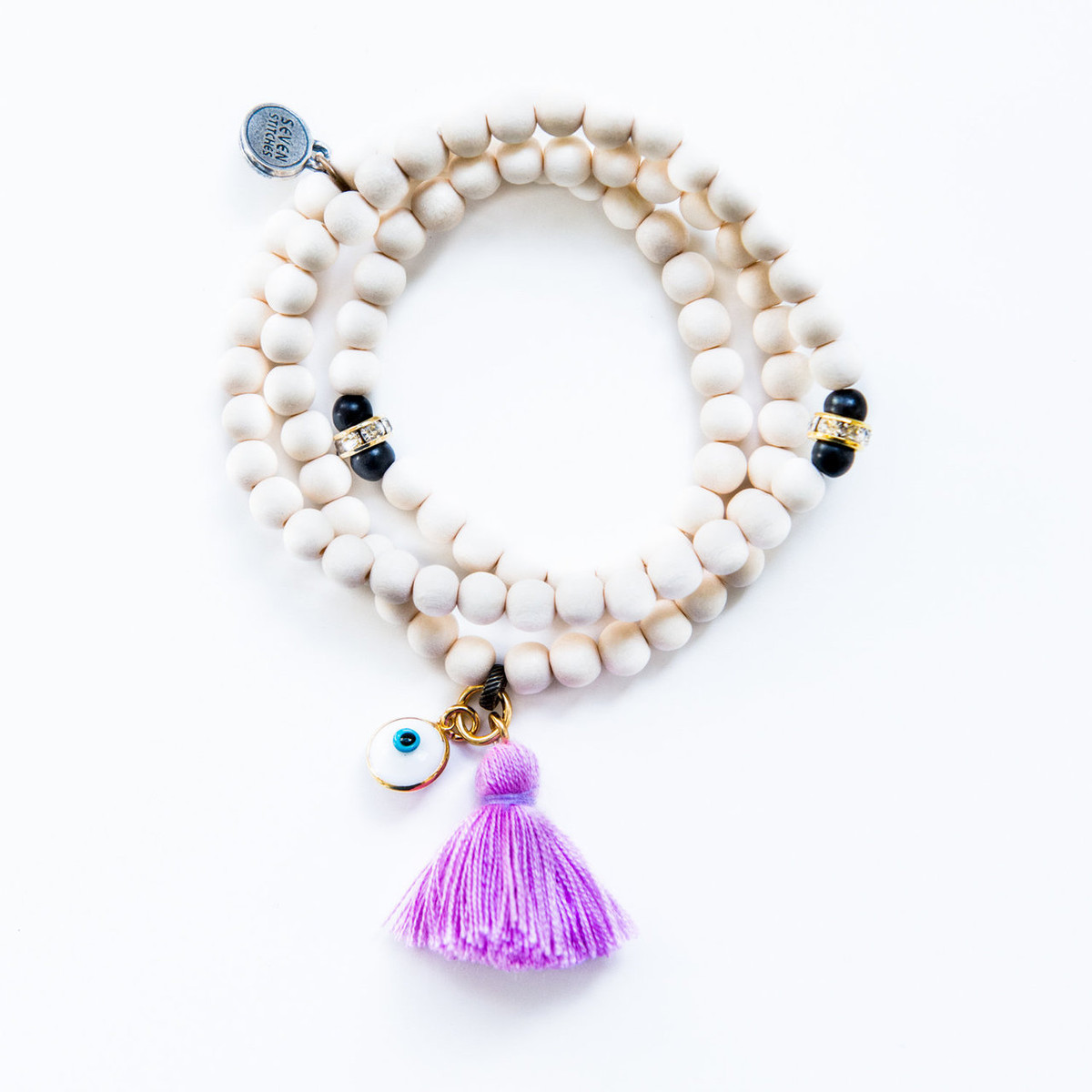 Triple Wrap White Wood Bracelet / Necklace Kabbalah Evil Eye Charm From 7Stitches