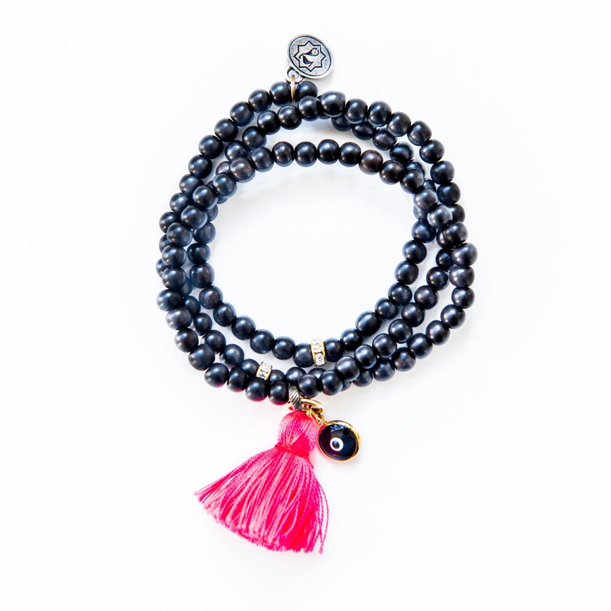 Triple Wrap Ebony Wood Bracelet / Necklace Kabbalah Charm