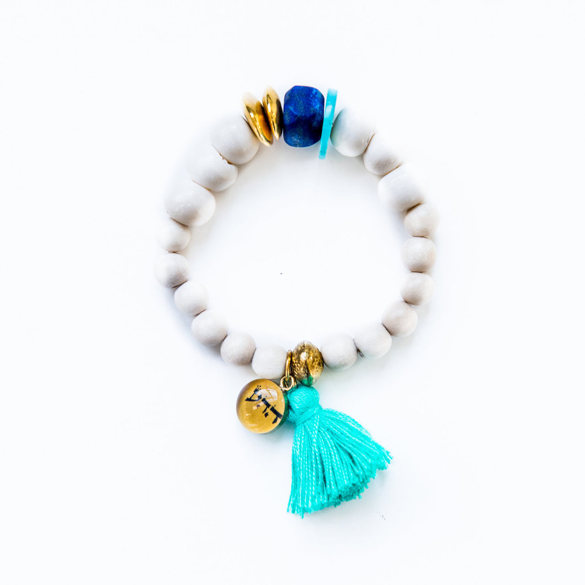 7Stitches Kabbalah Protection Lapis and Gold Chips Bracelet