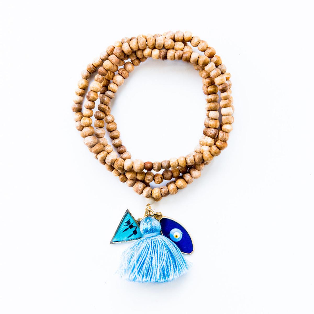 7Stitches Kabbalah Bracelet/Necklace in Tan Wood