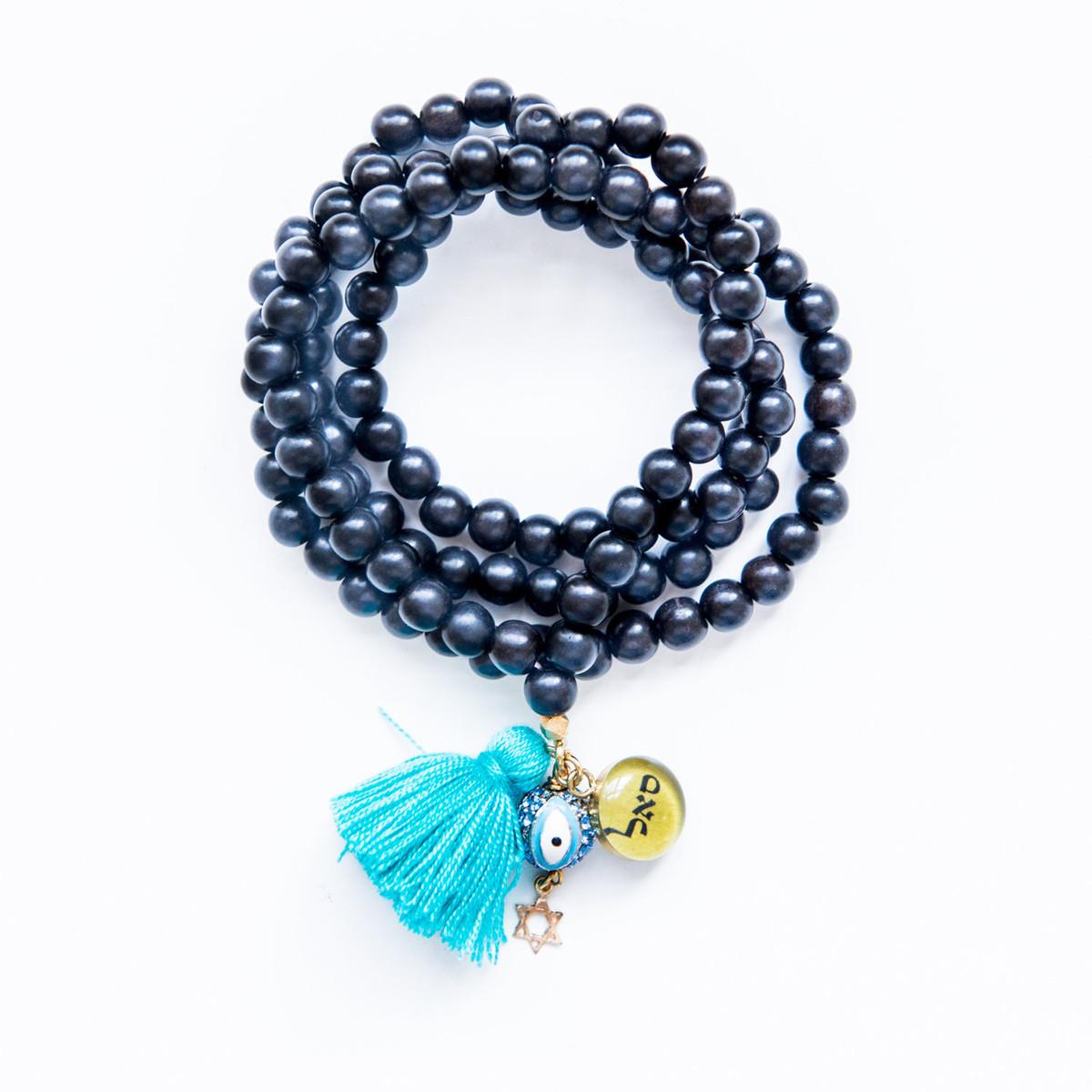 7Stitches Kabbalah Ebony Wood Blue Tassel Bracelet/Necklace