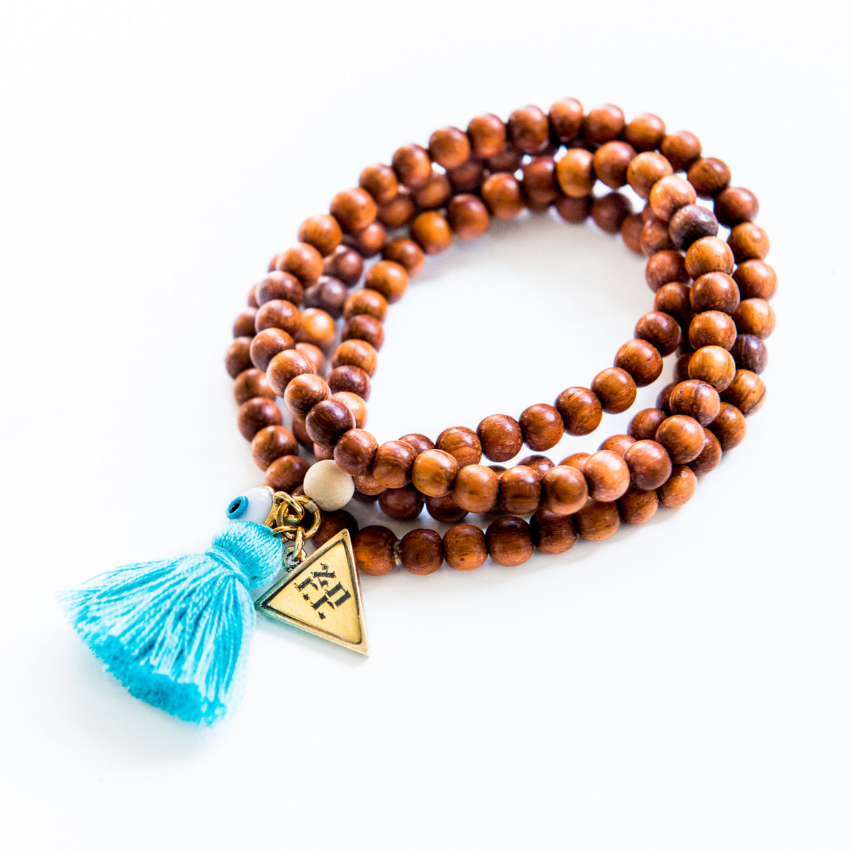 7Stitches Kabbalah Bracelet/Necklace in Bayong Wood Blue Tassel