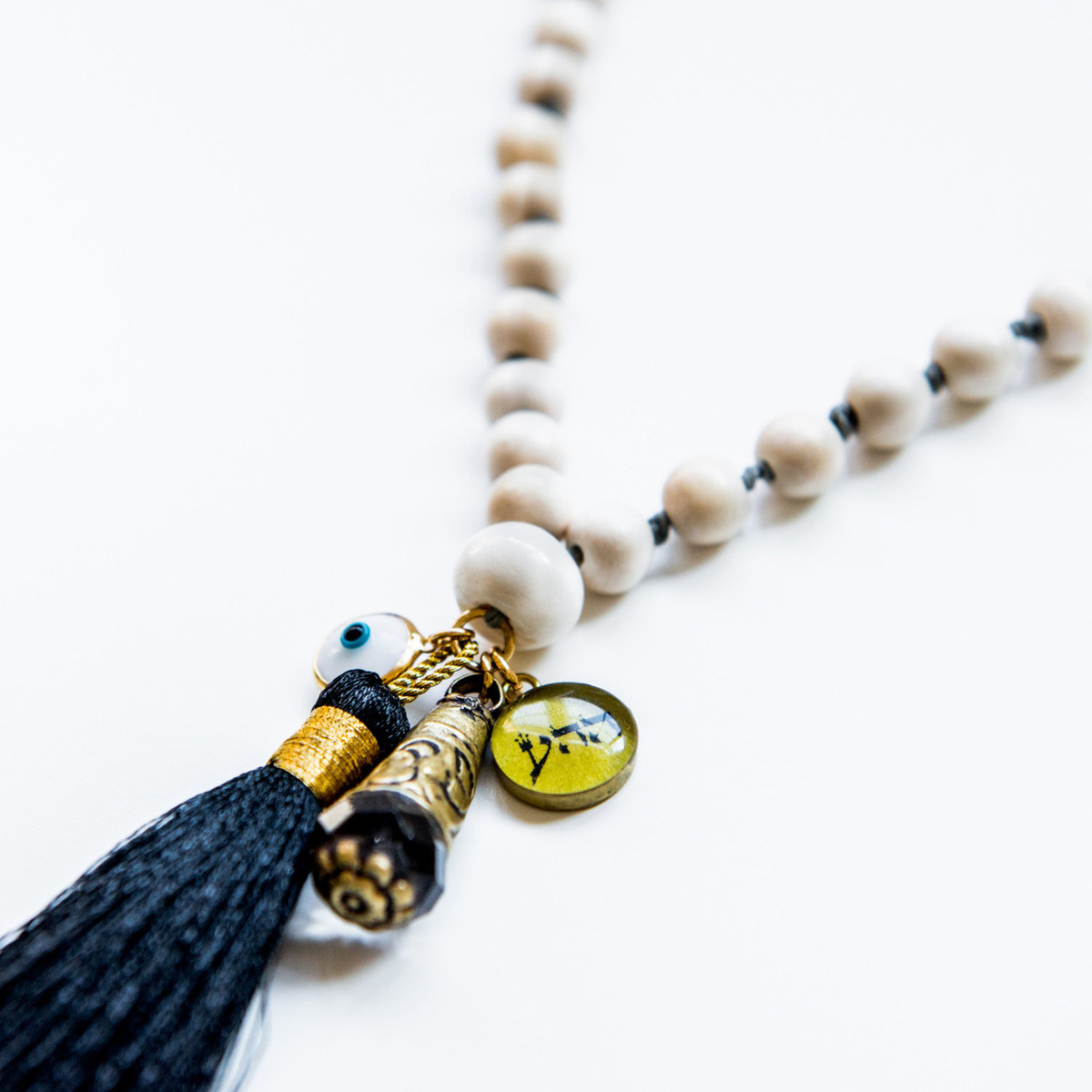 7Stitches White Wood Kabbalah Necklace with Long Black silk tassel