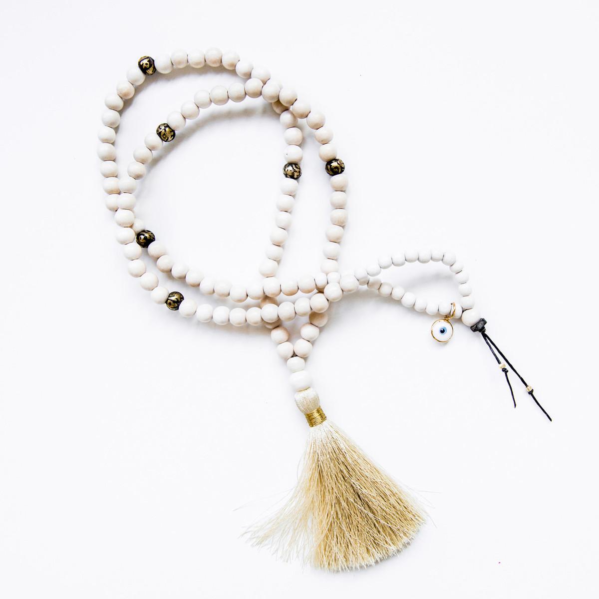 7Stitches Pure White Mala with Bone colored silk tassel
