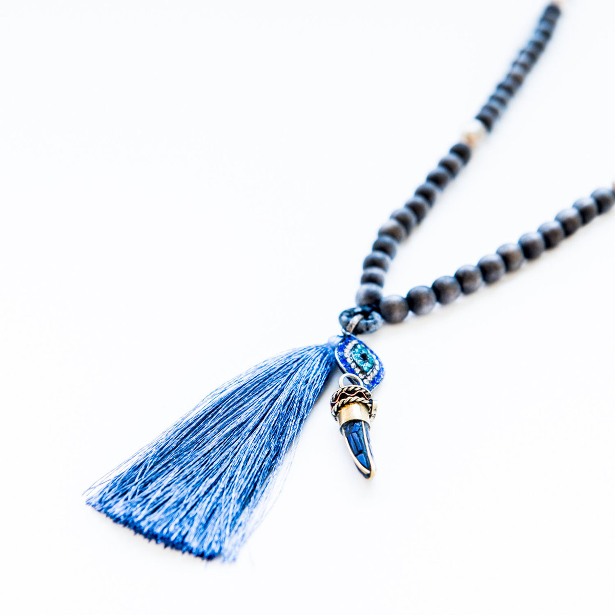 7Stitches Dark Steel Blue Mala with silver accents