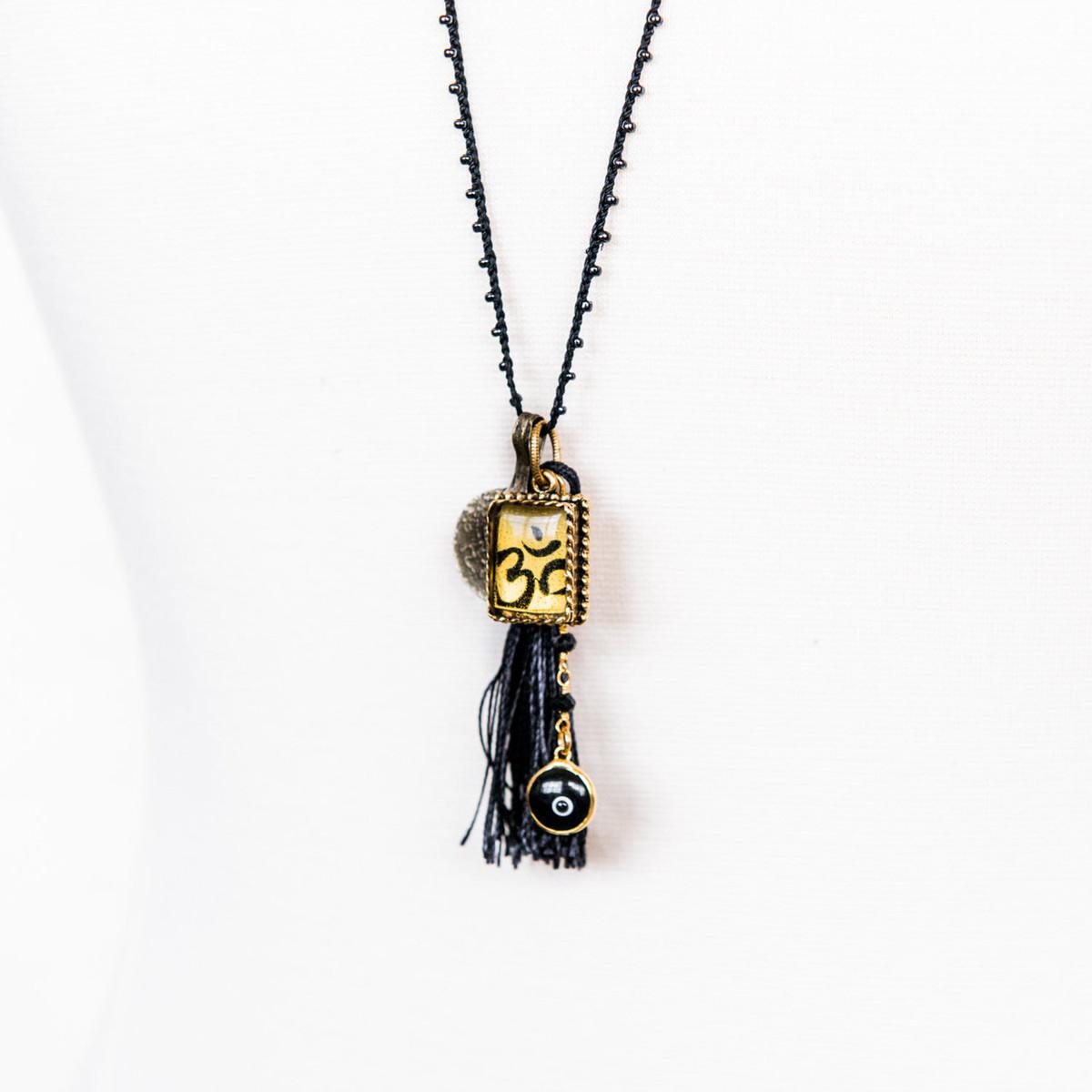 7Stitches Beaded Zen Black Necklace