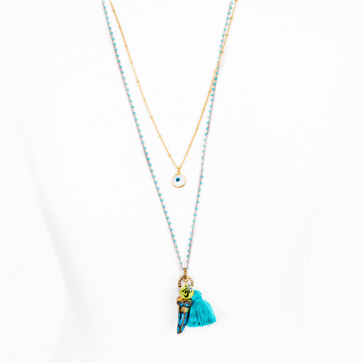 7Stitches Beaded Zen in Turquoise Necklace