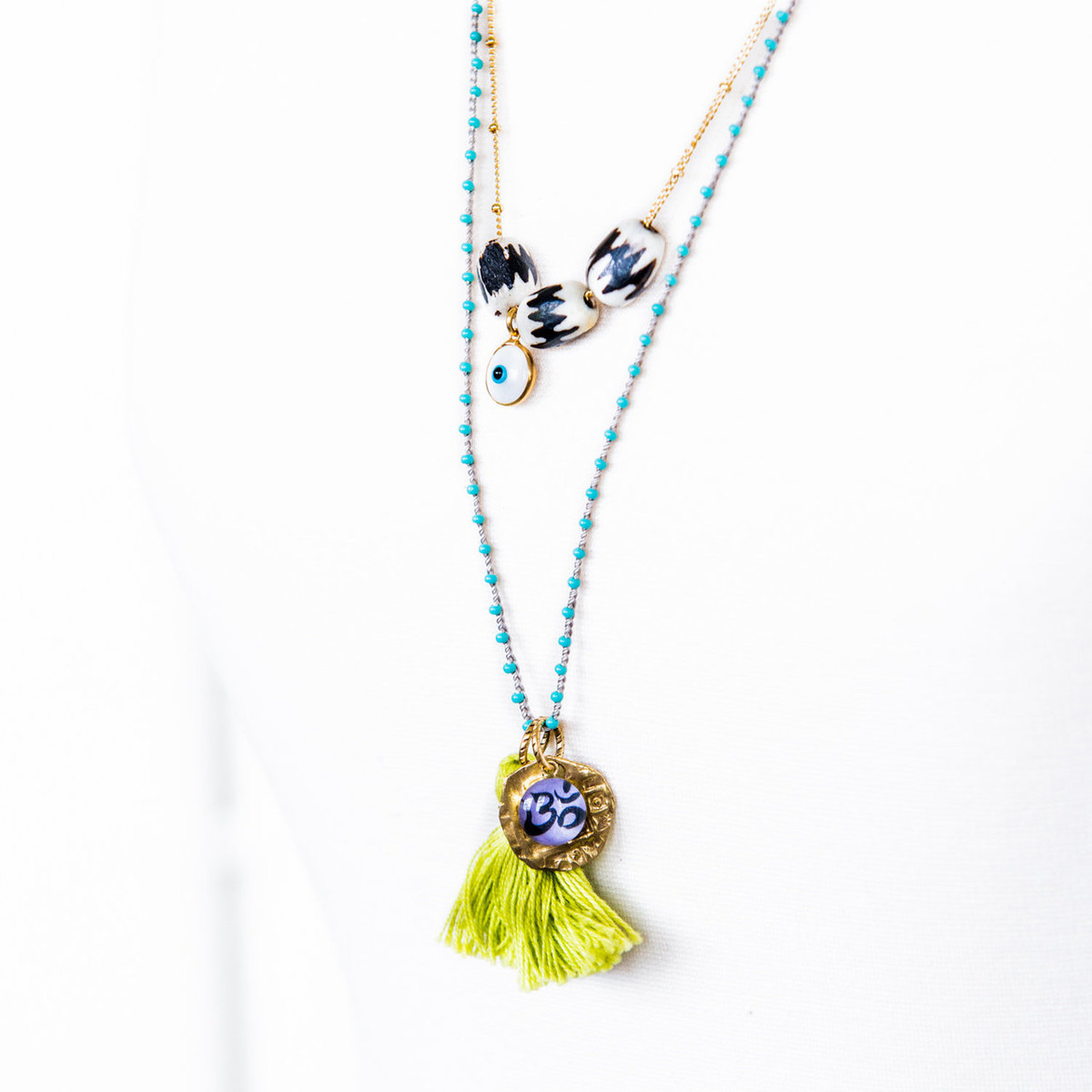 7Stitches Beaded Double chain Om Yoga Necklace