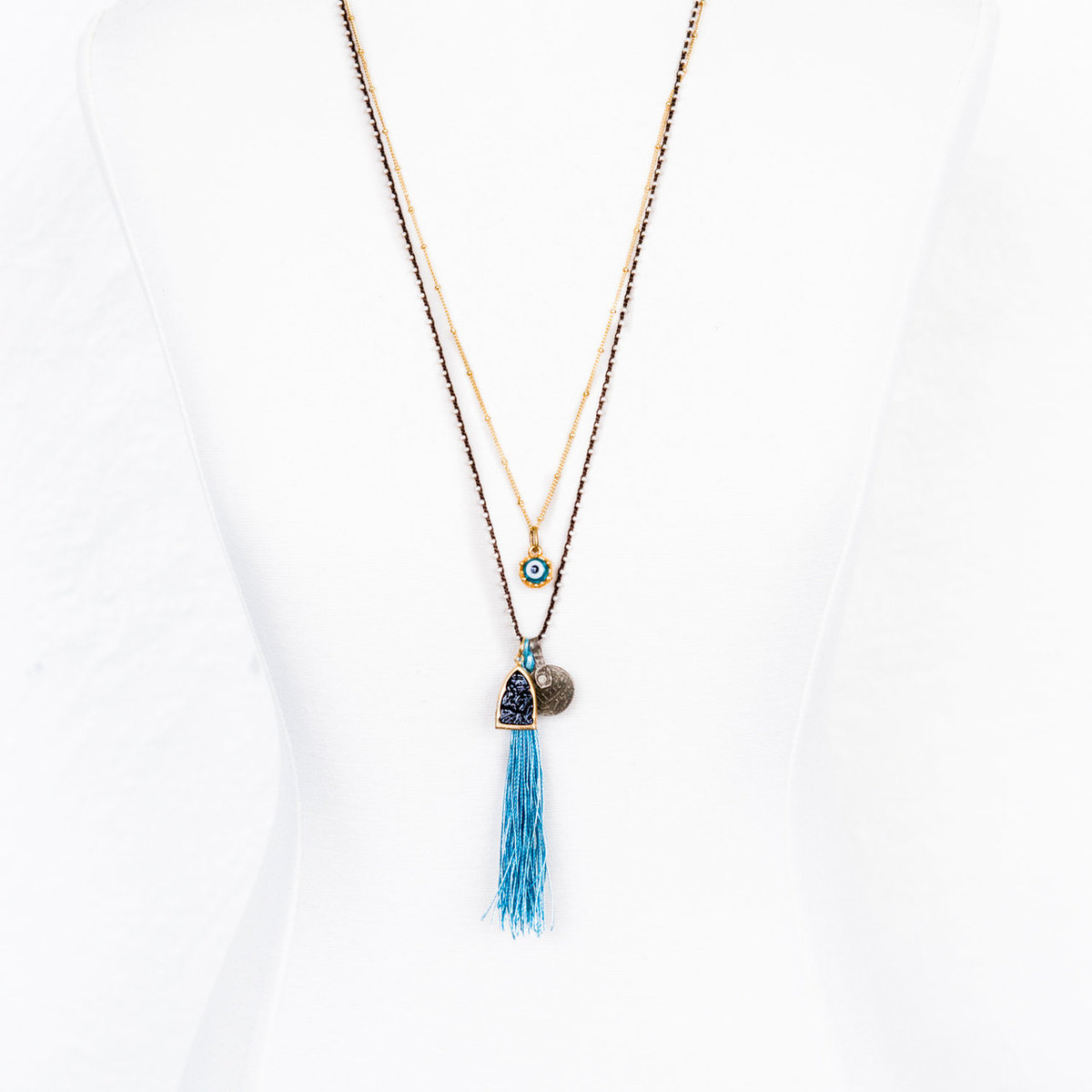 7Stitches Beaded chain in brown Necklace