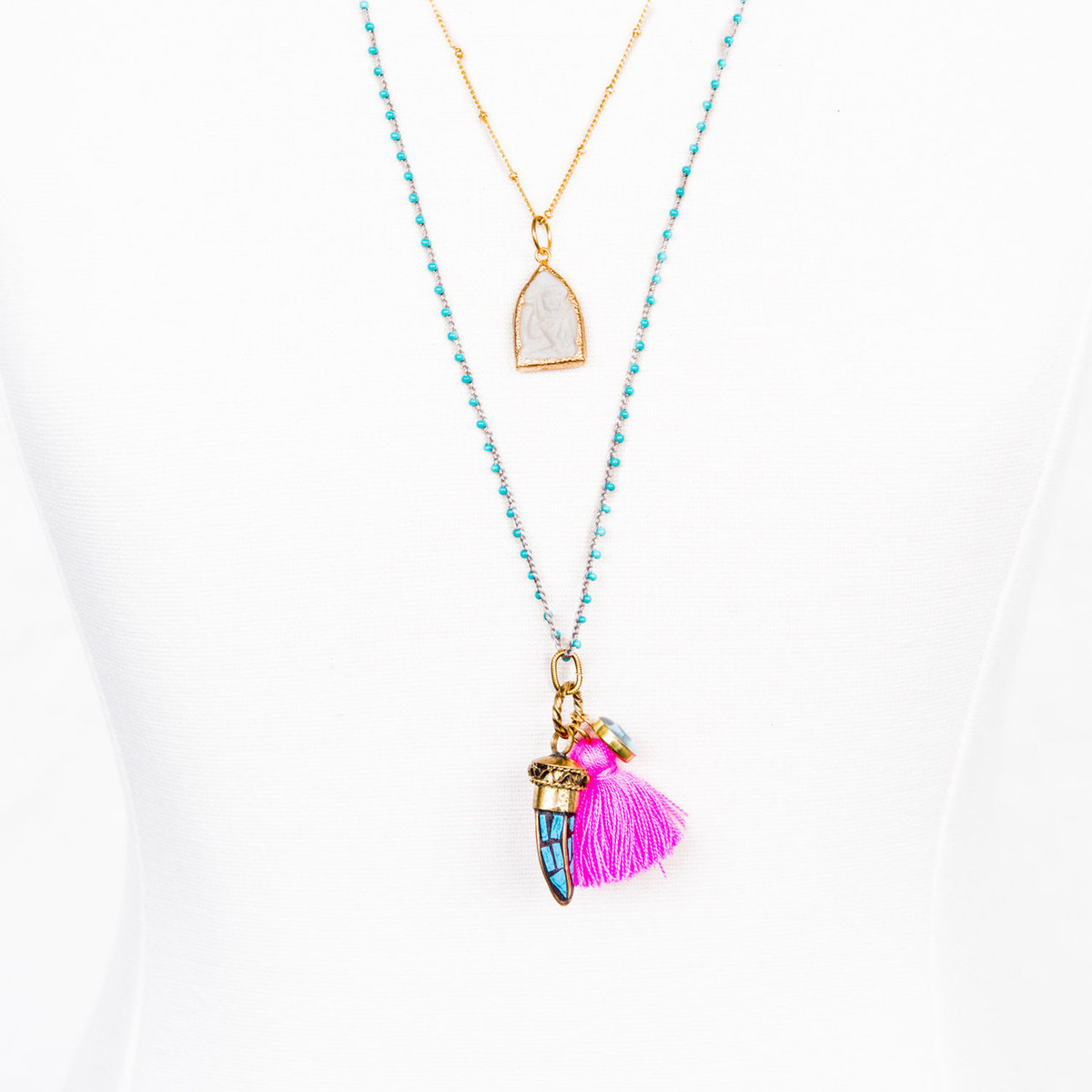 7Stitches White Buddha and chain Necklace