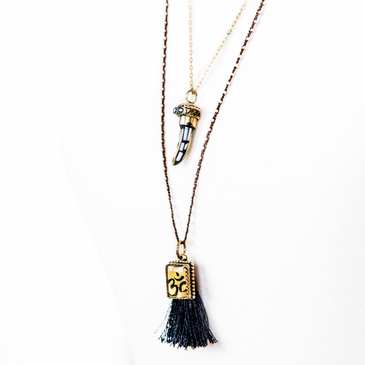 7Stitches Dark Brown double beaded Yoga Necklace