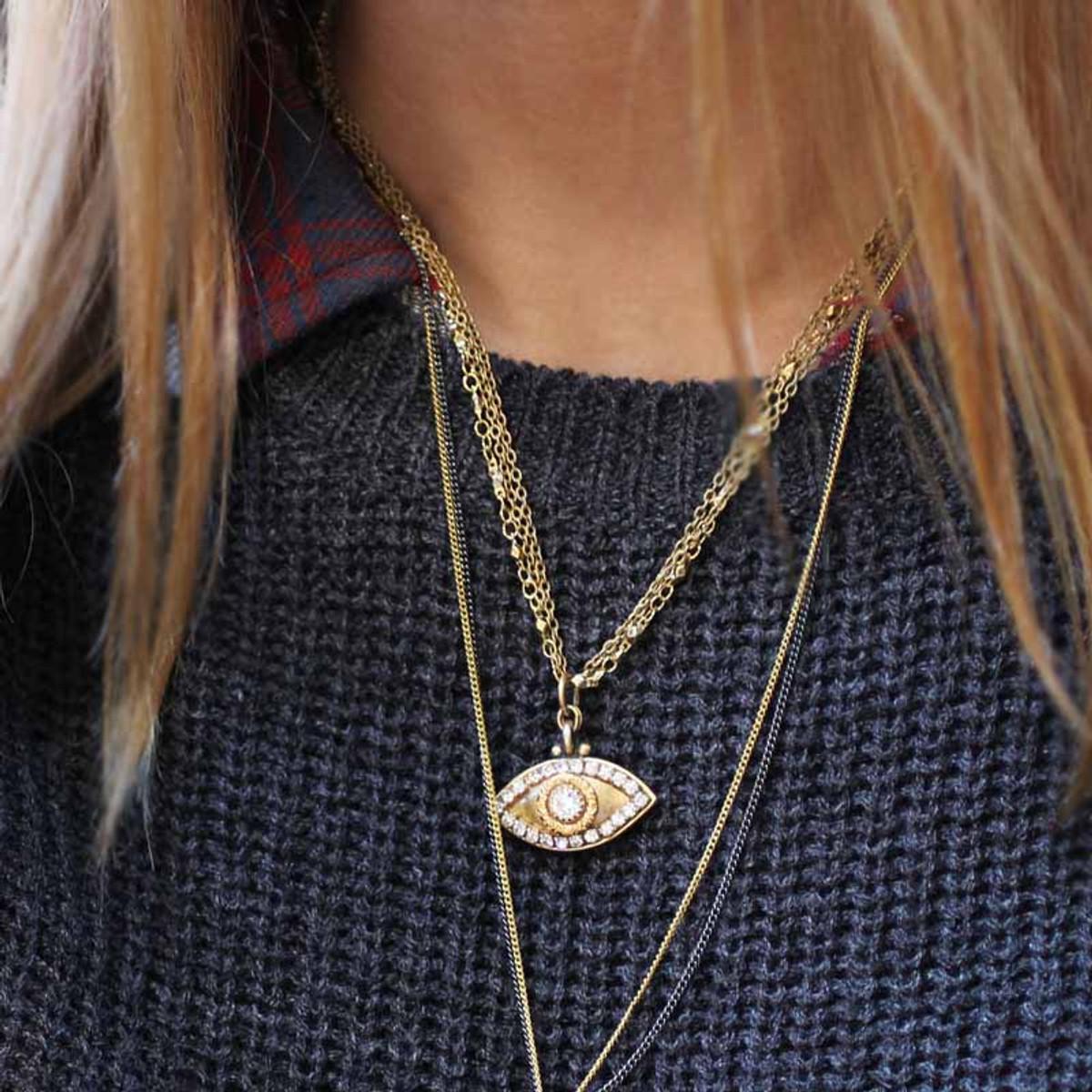 Evil Eye Necklace - Gold, Medium Eye With Crystal Edges & Center
