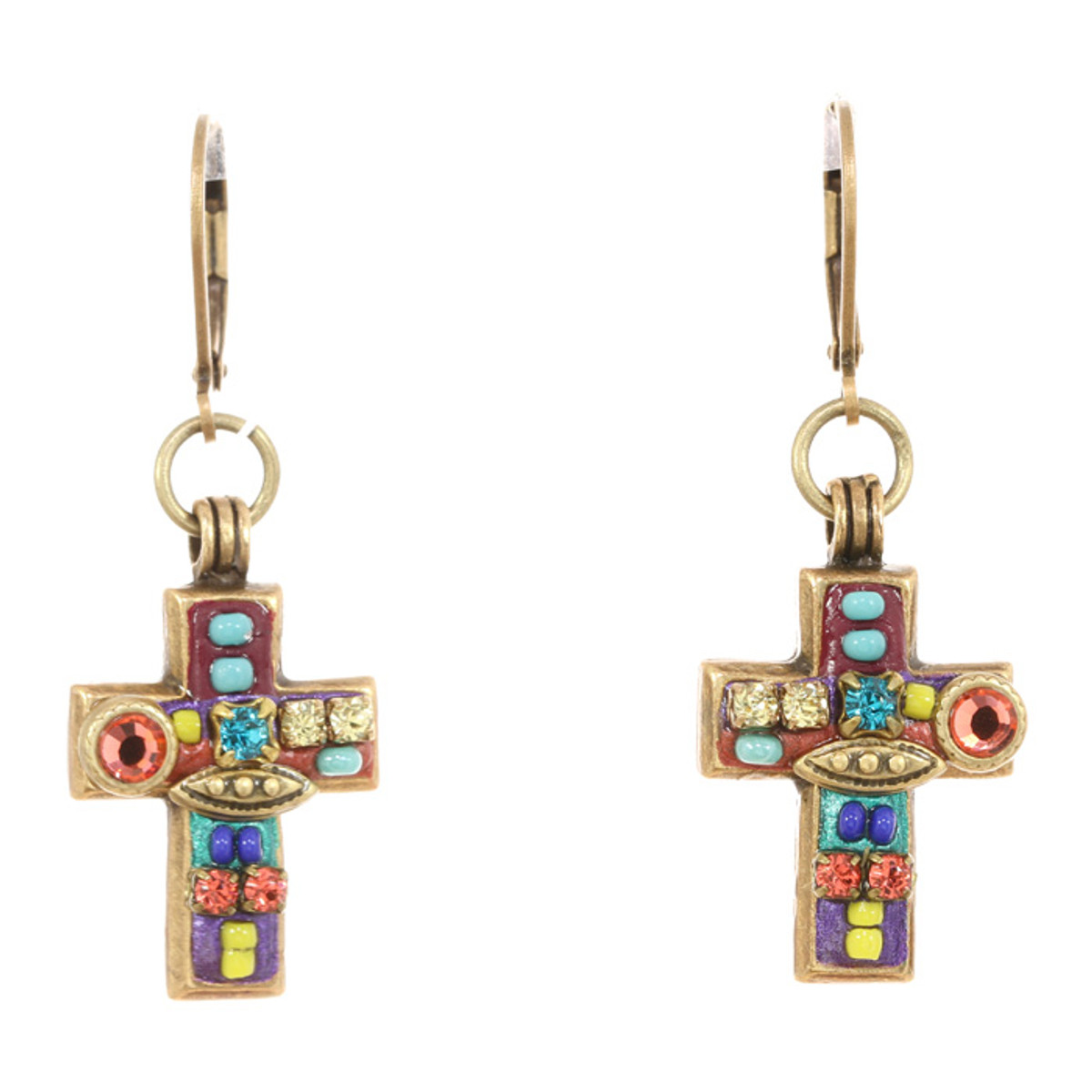 Michal Golan Earrings -Dangling multibright cross