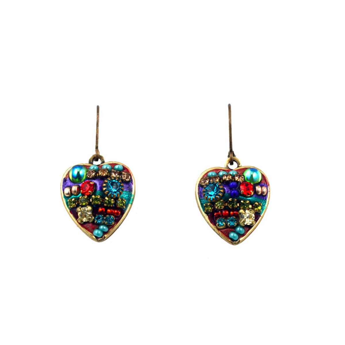 Michal Golan Earrings -Multicolor heart dangle