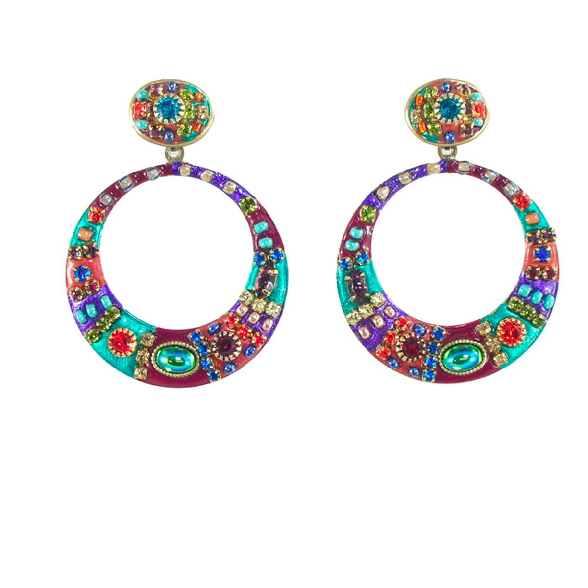 Michal Golan Earrings -Multicolor hoop dangle