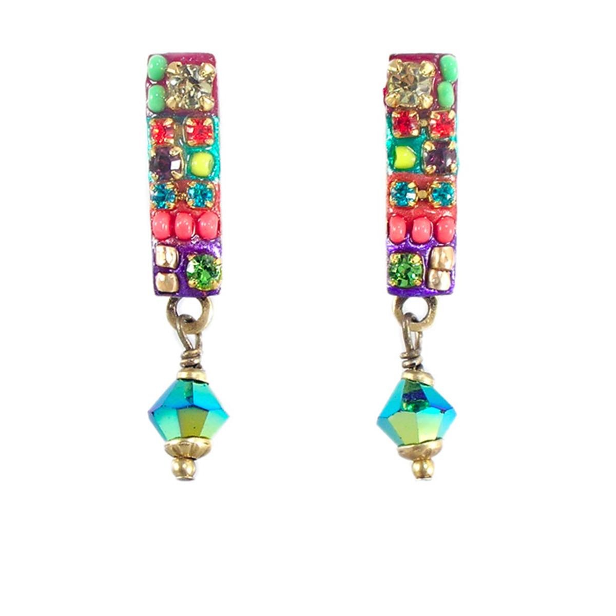 Michal Golan Earrings -Multicolor narrow rectangle